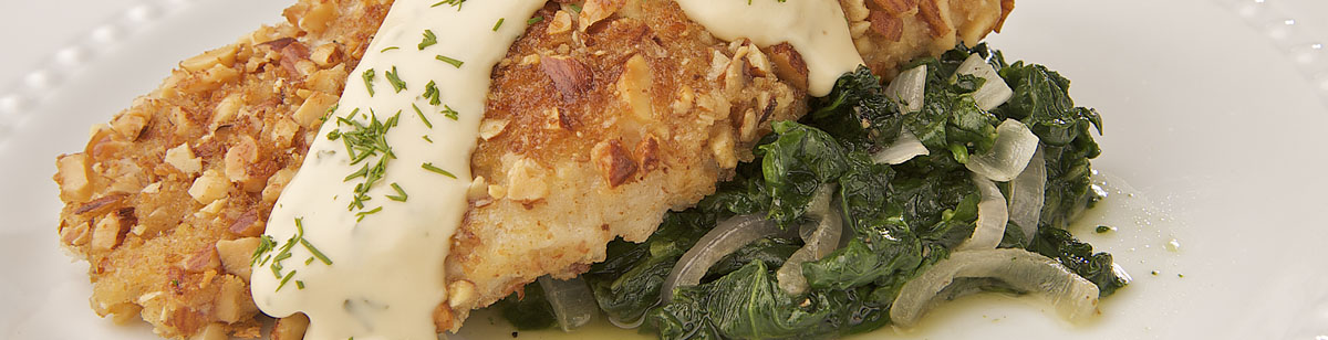 Almond Fish and a bit Spinach