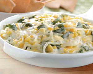 Corn and Poblano pepper strips with cheese